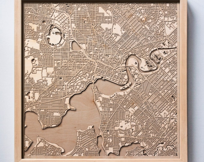 Perth Wooden Map -Laser Cut Wood Streets City Maps 3d Framed Minimal Minimalist Wall Art - Birthday Anniversary Christmas Wedding Gift