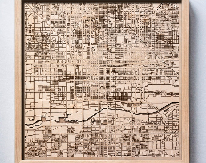 Phoenix Wooden Map - Laser Cut Wood Streets City Maps 3d Framed Minimal Minimalist Wall Art - Birthday Anniversary Christmas Wedding Gift