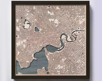 Perth Wood Map - Laser Cut Custom Map Streets City 3d Framed Wooden Maps Travel Wall Art - Birthday Christmas Gift Wedding Gifts