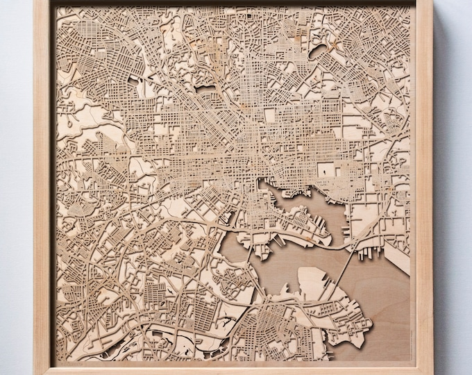 Baltimore Wooden Map - Pinewood Laser Cut Streets City Maps 3d Framed Minimal Minimalist Wall Art Wood - Birthday Christmas Wedding Gift