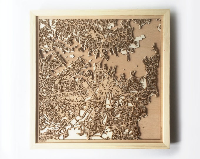 Sydney Wooden Map -Laser Cut Wood Streets City Maps 3d Framed Minimal Minimalist Wall Art - Birthday Anniversary Christmas Wedding Gift