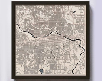 Calgary Wood Map - Laser Cut Custom Map Streets City 3d Framed Wooden Maps Travel Wall Art - Birthday Christmas Gift Wedding Gifts