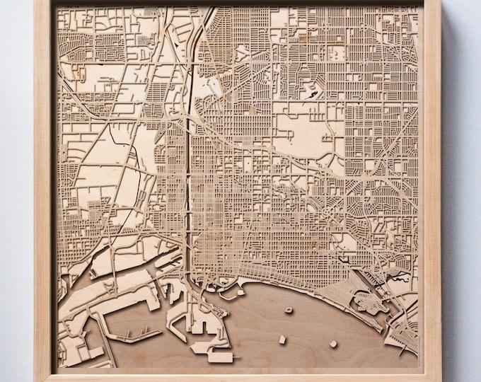 Long Beach Wooden Map -Laser Cut Wood Streets City Maps 3d Framed Minimal Minimalist Wall Art - Birthday Anniversary Christmas Wedding Gift