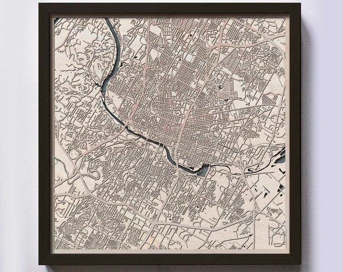 Austin Wood Map - Laser Cut Custom Map Streets City 3d Framed Wooden Maps Travel Wall Art - Birthday Christmas Gift Wedding Gifts