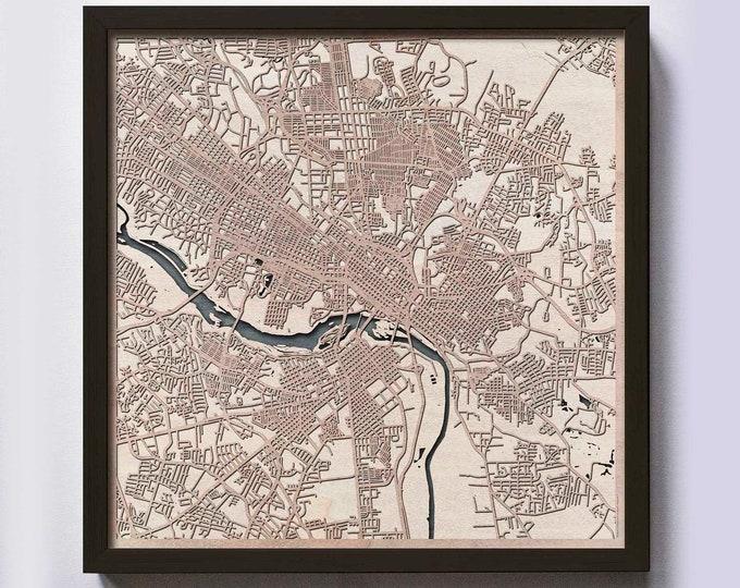 Richmond Wood Map - Laser Cut Custom Map Streets City 3d Framed Wooden Maps Travel Wall Art - Birthday Christmas Gift Wedding Gifts