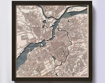 Ottawa Wood Map - 5th Anniversary Gift - Custom Wooden Map Laser Cut Framed Maps Wall Art - Wedding Engagement Gift for Couple