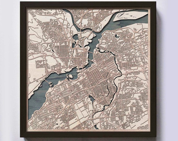 Ottawa Wood Map - Laser Cut Custom Map Streets City 3d Framed Wooden Maps Travel Wall Art - Birthday Christmas Gift Wedding Gifts