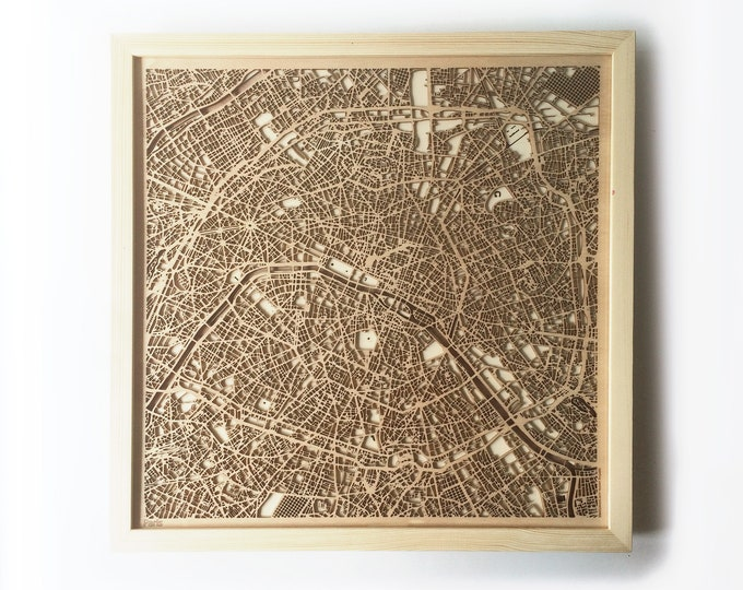 Paris Wooden Map - Pinewood Laser Cut Wood Streets City Maps 3d Framed Minimal Minimalist Wall Art - Birthday Christmas Wedding Gift