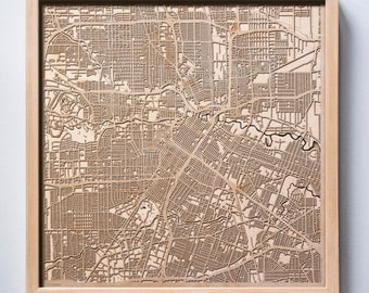 Houston Wooden Map -Laser Cut Wood Streets City Maps 3d Framed Minimal Minimalist Wall Art - Birthday Anniversary Christmas Wedding Gift