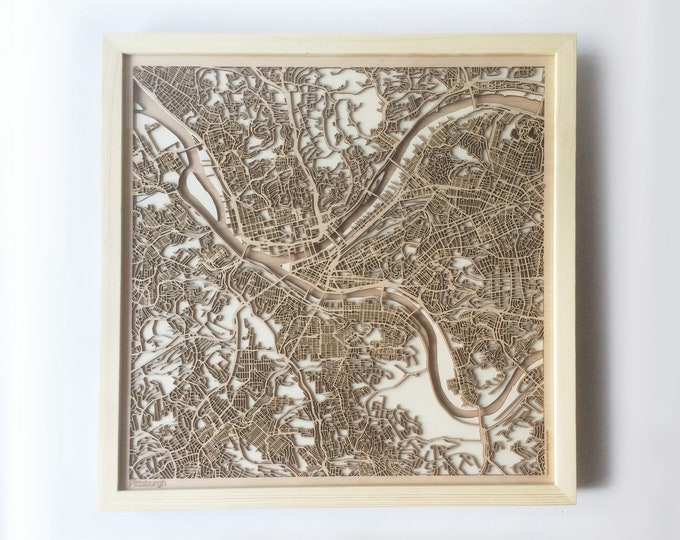 Pittsburgh Wooden Map - Pinewood Laser Cut Streets City Maps 3d Framed Minimal Minimalist Wall Art Wood - Birthday Christmas Wedding Gift