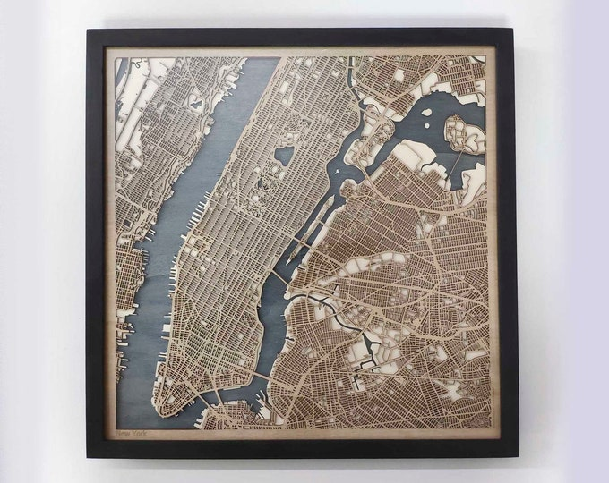 New York Wood Map - 5th Anniversary Gift - Custom Wooden Map Laser Cut Framed Maps Wall Art - Wedding Engagement Gift for Couple
