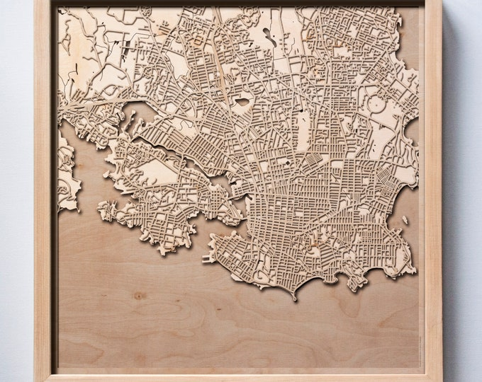 Victoria Wooden Map -Laser Cut Wood Streets City Maps 3d Framed Minimal Minimalist Wall Art - Birthday Anniversary Christmas Wedding Gift