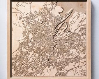 Belfast Wooden Map -Laser Cut Wood Streets City Maps 3d Framed Minimal Minimalist Wall Art - Birthday Anniversary Christmas Wedding Gift