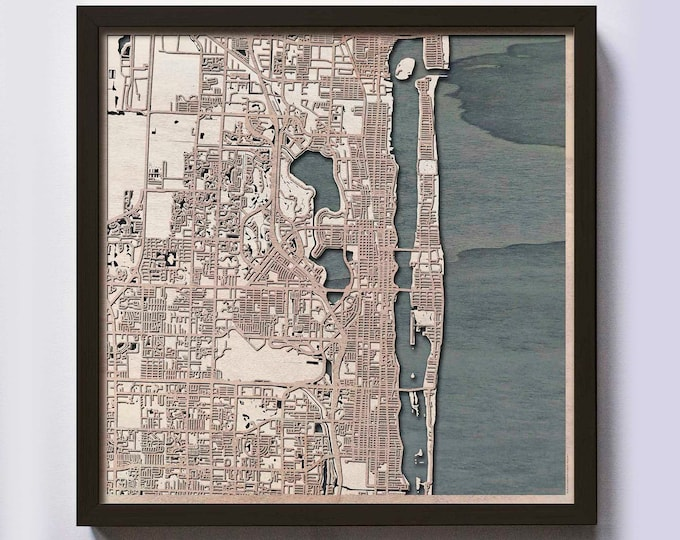 Palm Beach Wood Map - Laser Cut Custom Map Streets City 3d Framed Wooden Maps Travel Wall Art - Birthday Christmas Gift Wedding Gifts