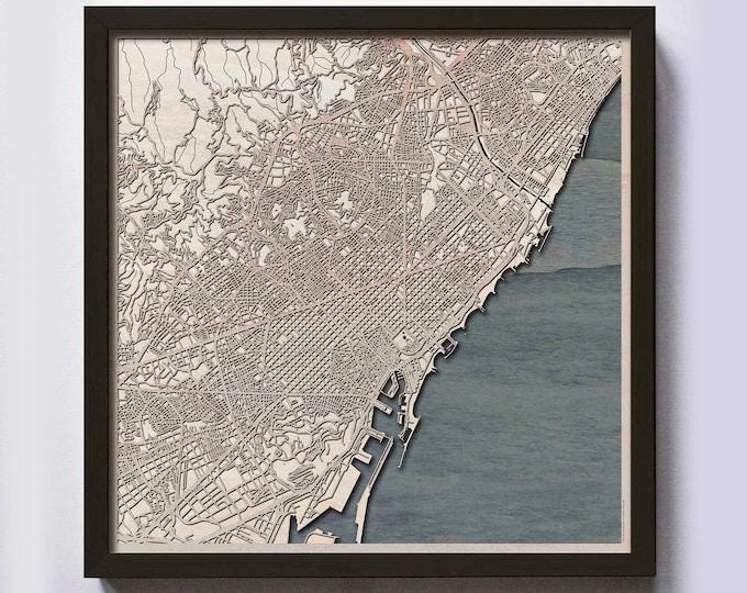 Barcelona Wood Map - Laser Cut Custom Map Streets City 3d Framed Wooden Maps Travel Wall Art - Birthday Christmas Gift Wedding Gifts