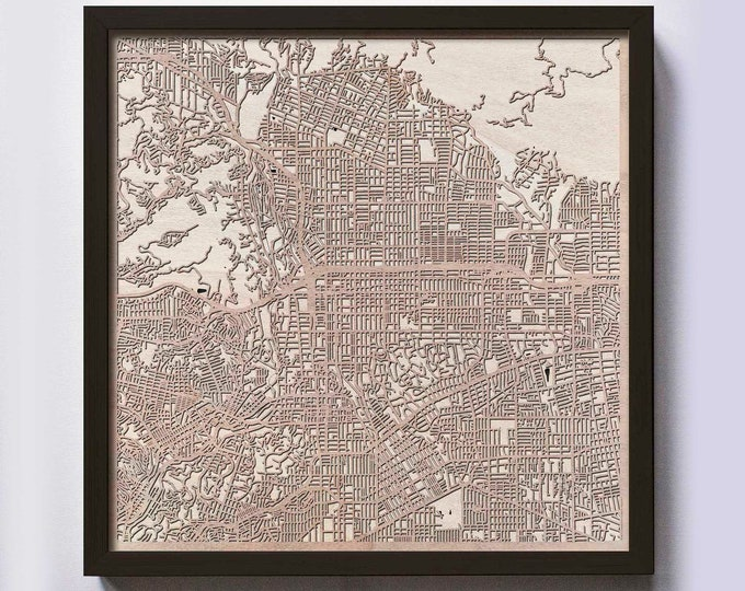 Pasadena Wood Map - 5th Anniversary Gift - Custom Wooden Map Laser Cut Framed Maps Wall Art - Wedding Engagement Gift for Couple