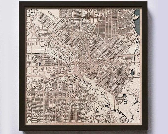 Dallas Wood Map - Laser Cut Custom Map Streets City 3d Framed Wooden Maps Travel Wall Art - Birthday Christmas Gift Wedding Gifts