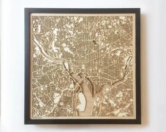 Washington Wooden Map - Black Laser Cut Streets City Maps 3d Framed Minimal Minimalist Wall Art Wood - Birthday Christmas Wedding Gift