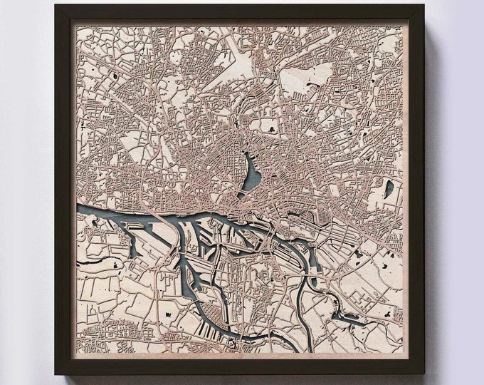 Hamburg Wood Map - Laser Cut Custom Map Streets City 3d Framed Wooden Maps Travel Wall Art - Birthday Christmas Gift Wedding Gifts