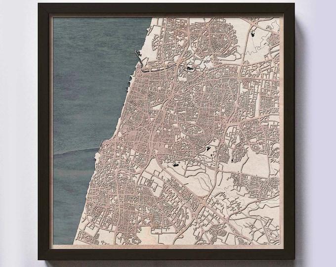 Tel Aviv Wood Map - 5th Anniversary Gift - Custom Wooden Map Laser Cut Framed Maps Wall Art - Wedding Engagement Gift for Couple
