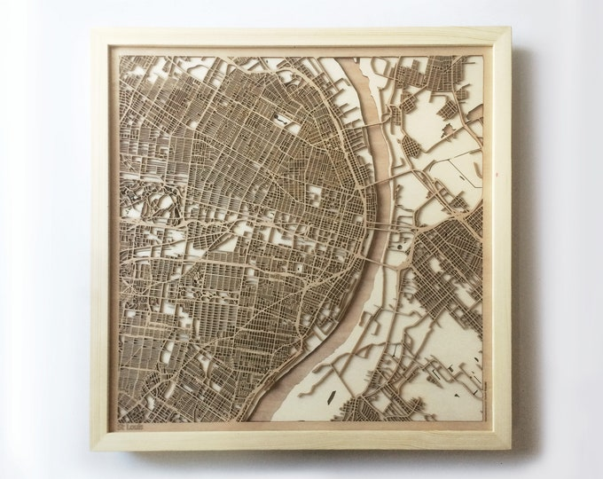 St. Louis Wooden Map - Laser Cut Wood Streets Maps 3d Framed Minimal Minimalist Wall Art - Birthday Anniversary Christmas Wedding Gift