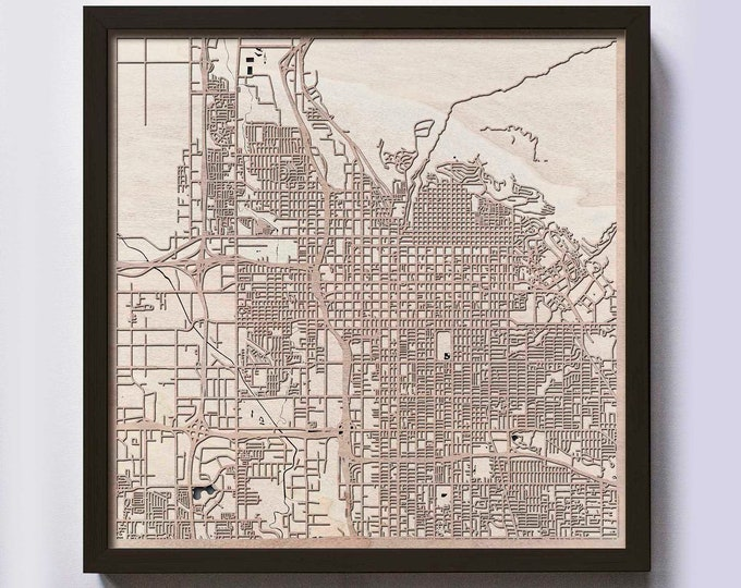 Salt Lake City Wood Map - 5th Anniversary Gift - Custom Wooden Map Laser Cut Framed Maps Wall Art - Wedding Engagement Gift for Couple
