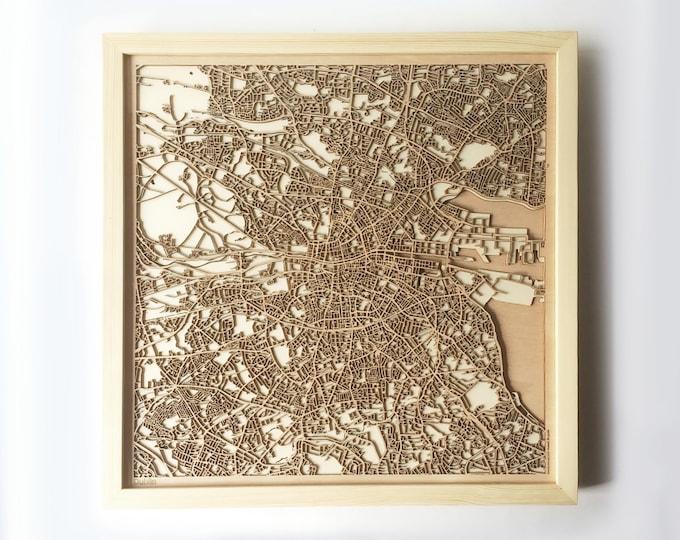 Dublin Wooden Map -Laser Cut Wood Streets City Maps 3d Framed Minimal Minimalist Wall Art - Birthday Anniversary Christmas Wedding Gift