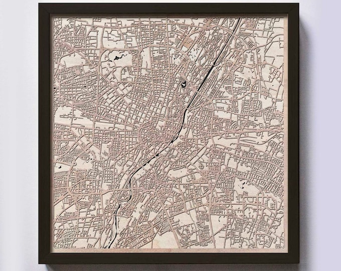 Munich Wood Map - 5th Anniversary Gift - Custom Wooden Map Laser Cut Framed Maps Wall Art - Wedding Engagement Gift for Couple