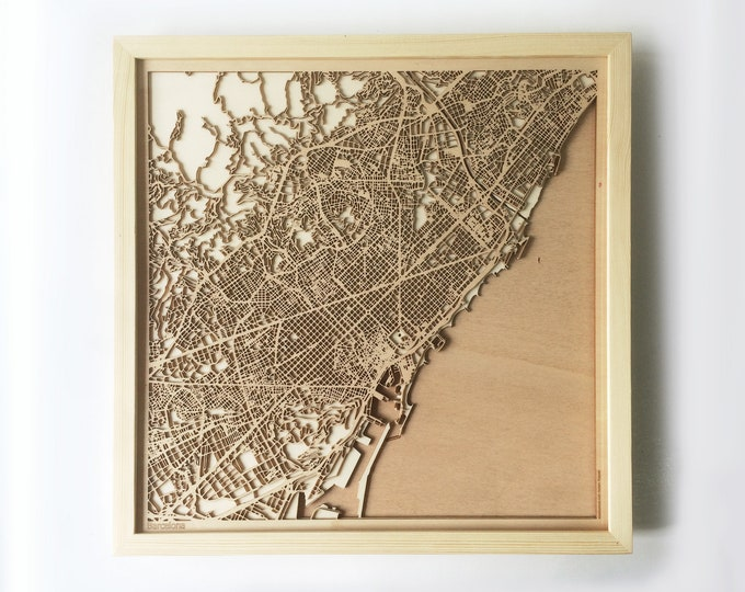 Barcelona Wooden Map - Pinewood Laser Cut Streets City Maps 3d Framed Minimal Minimalist Wall Art Wood - Birthday Christmas Wedding Gift