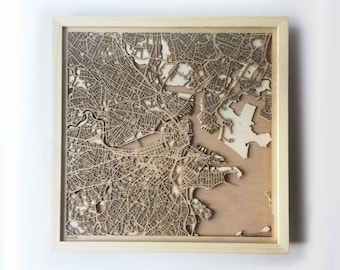 Boston Wooden Map - Pinewood Laser Cut Wood Streets City Maps 3d Framed Minimal Minimalist Wall Art -Birthday Christmas Wedding Gift