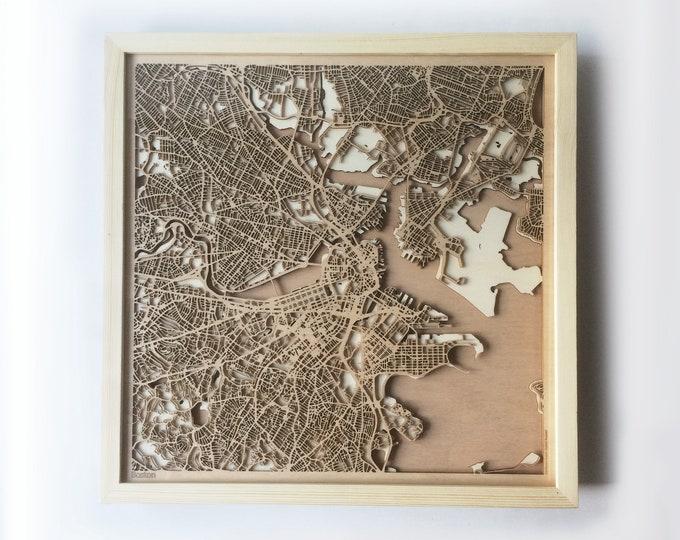 Boston Wooden Map - Pinewood Laser Cut Wood Streets City Maps 3d Framed Minimal Minimalist Wall Art -Birthday Christmas Wedding Gift