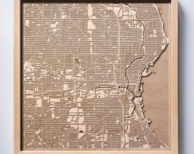 Milwaukee Wooden Map -Laser Cut Wood Streets City Maps 3d Framed Minimal Minimalist Wall Art - Birthday Anniversary Christmas Wedding Gift
