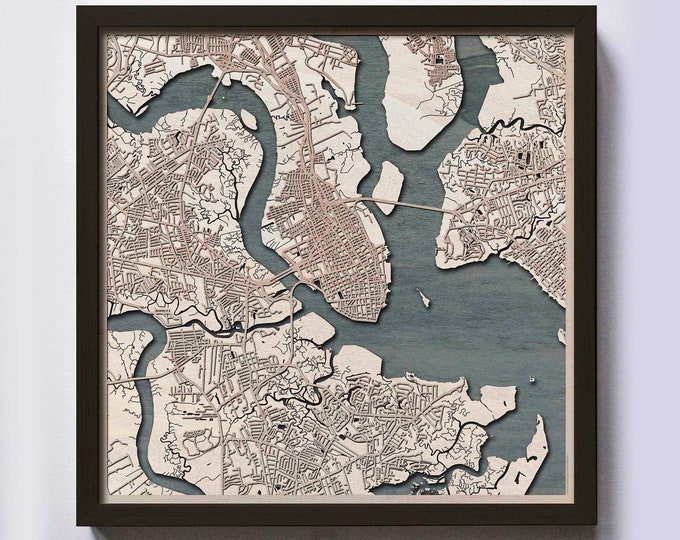 Charleston Wood Map - Laser Cut Custom Map Streets City 3d Framed Wooden Maps Travel Wall Art - Birthday Christmas Gift Wedding Gifts