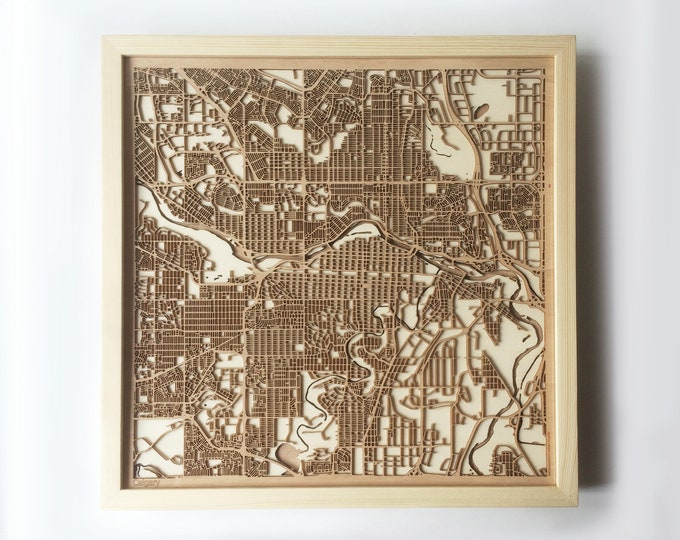 Calgary Wooden Map - Pinewood Laser Cut Streets City Maps 3d Framed Minimal Minimalist Wall Art Wood - Birthday Christmas Wedding Gift