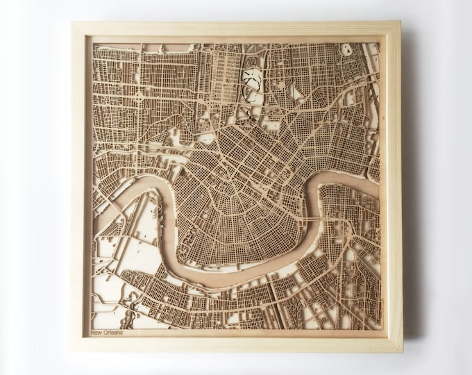 New Orleans Wooden Map - Pinewood Laser Cut Wood Streets City Maps 3d Framed Minimal Minimalist Wall Art -Birthday Christmas Wedding Gift