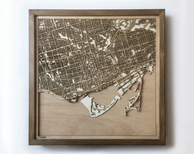 Wooden Map Toronto - Walnut Laser Cut New Home Travel Gift For Friends Wall Art Home Decor Wedding Gift Anniversary Gift For Boyfriend
