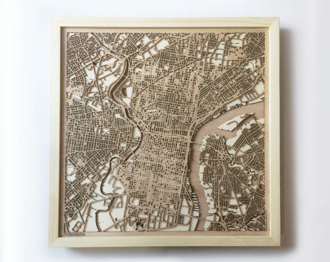 Philadelphia Wooden Map - Pinewood Laser Cut Streets City Maps 3d Framed Minimal Minimalist Wall Art Wood - Birthday Christmas Wedding Gift