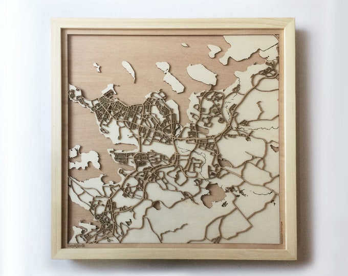 Reykjavik Wooden Map -Laser Cut Wood Streets City Maps 3d Framed Minimal Minimalist Wall Art - Birthday Anniversary Christmas Wedding Gift