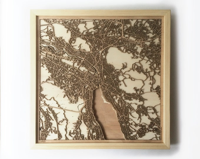 Zurich Wooden Map -Laser Cut Wood Streets City Maps 3d Framed Minimal Minimalist Wall Art - Birthday Anniversary Christmas Wedding Gift