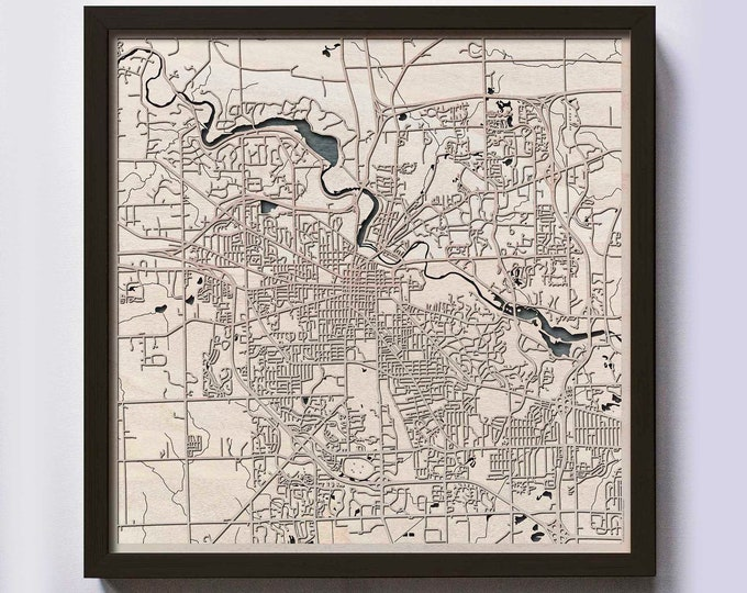Ann Arbor Wood Map - 5th Anniversary Gift - Custom Wooden Map Laser Cut Framed Maps Wall Art - Wedding Engagement Gift for Couple