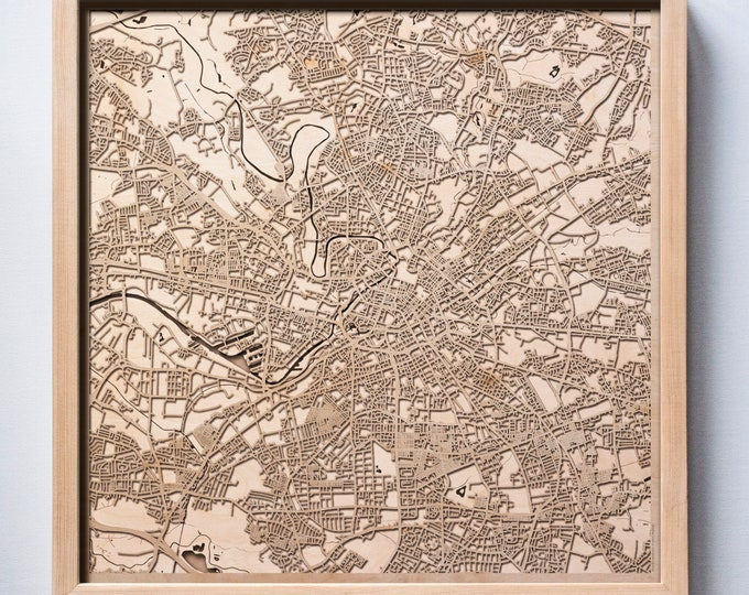 Manchester Wooden Map -Laser Cut Wood Streets City Maps 3d Framed Minimal Minimalist Wall Art - Birthday Anniversary Christmas Wedding Gift