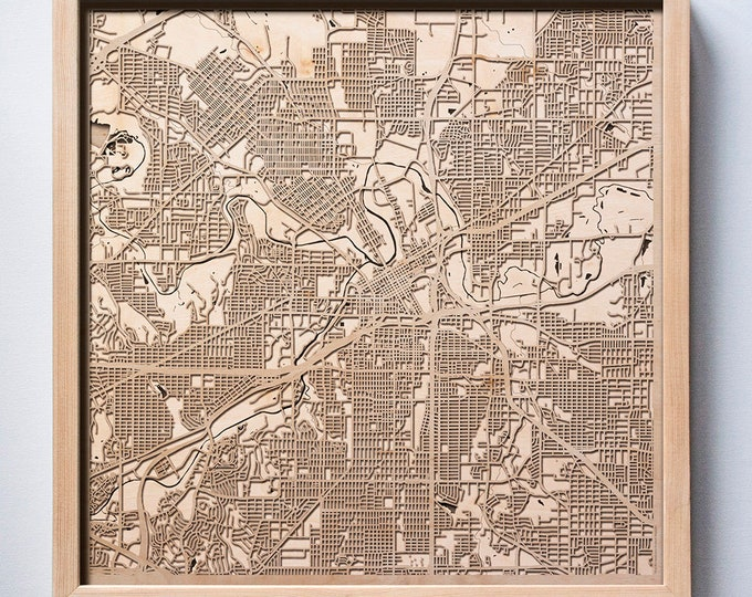Fort Worth Wooden Map -Laser Cut Wood Streets City Maps 3d Framed Minimal Minimalist Wall Art - Birthday Anniversary Christmas Wedding Gift