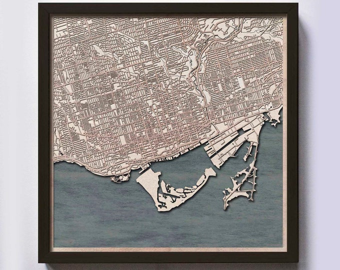 Toronto Wood Map - 5th Anniversary Gift - Custom Wooden Map Laser Cut Framed Maps Wall Art - Wedding Engagement Gift for Couple
