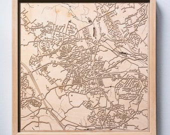 Barnsley Wooden Map - Pinewood Laser Cut Streets City Maps 3d Framed Minimal Minimalist Wall Art Wood - Birthday Christmas Wedding Gift