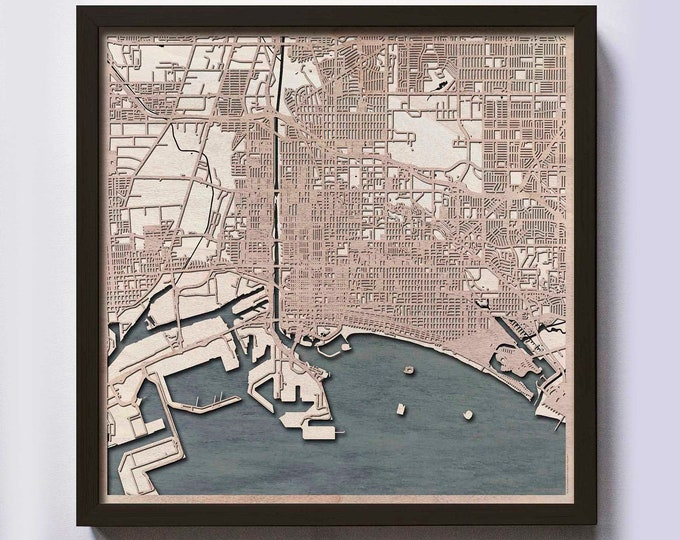 Long Beach Wood Map - Laser Cut Custom Map Streets City 3d Framed Wooden Maps Travel Wall Art - Birthday Christmas Gift Wedding Gifts