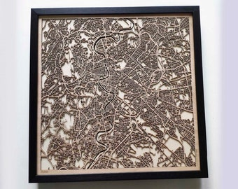 Rome Wood Map - 5th Anniversary Gift - Custom Wooden Map Laser Cut Framed Maps Wall Art - Wedding Engagement Gift for Couple