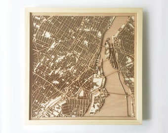 Montreal Wooden Map - Pinewood Laser Cut Streets City Maps 3d Framed Minimal Minimalist Wall Art Wood - Birthday Christmas Wedding Gift