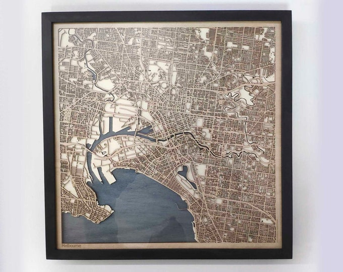 Melbourne Wood Map - Laser Cut Custom Map Streets City 3d Framed Wooden Maps Travel Wall Art - Birthday Christmas Gift Wedding Gifts