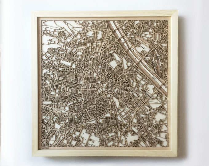 Vienna Wooden Map -Laser Cut Wood Streets City Maps 3d Framed Minimal Minimalist Wall Art - Birthday Anniversary Christmas Wedding Gift