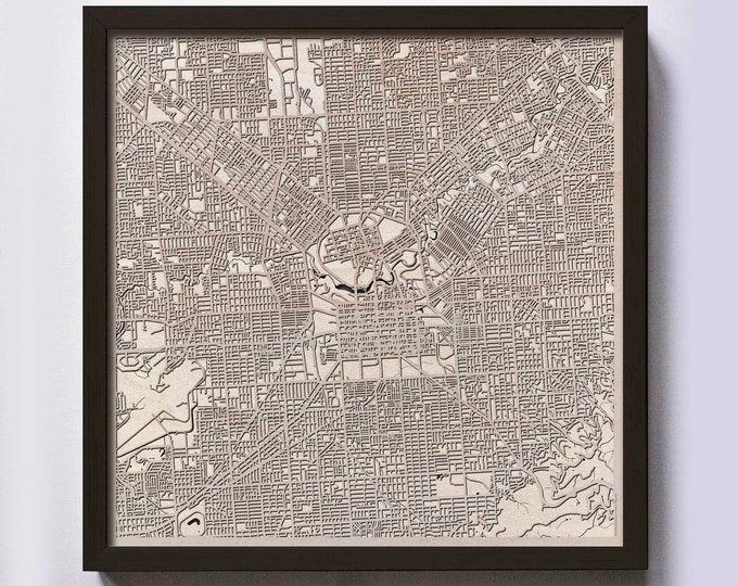 Adelaide Wood Map - Laser Cut Custom Map Streets City 3d Framed Wooden Maps Travel Wall Art - Birthday Christmas Gift Wedding Gifts